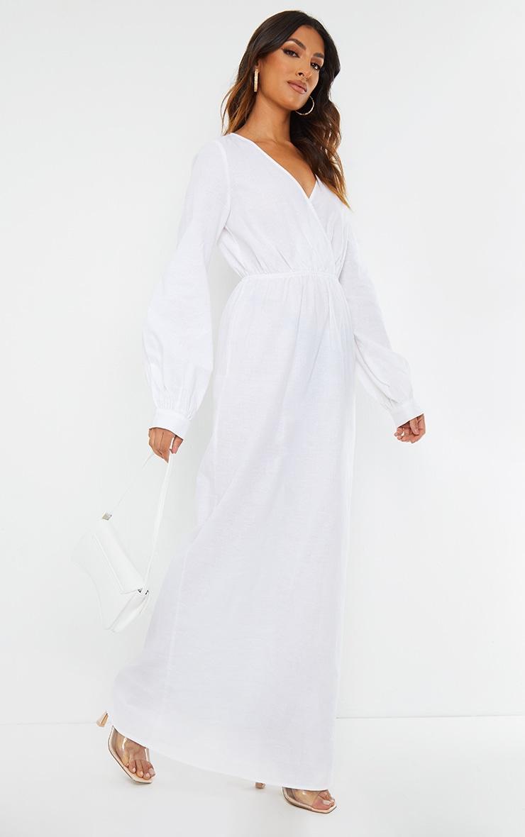 White Woven Elastic Waist V Neck Maxi Dress 3