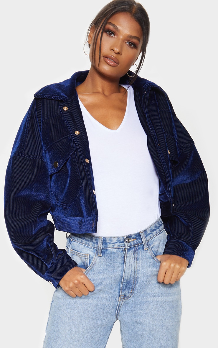 Navy Cropped Cord Oversized Trucker Jacket 4