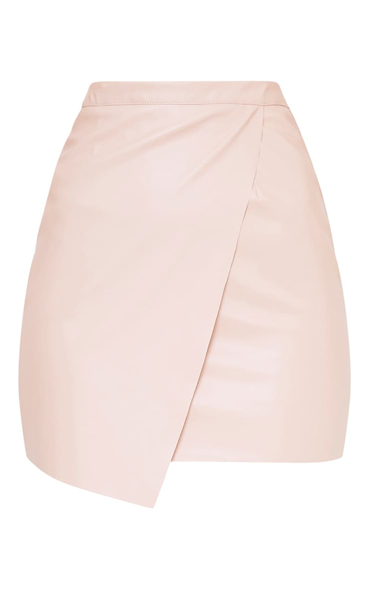 Luisa Nude Faux Leather Wrap Mini Skirt  3