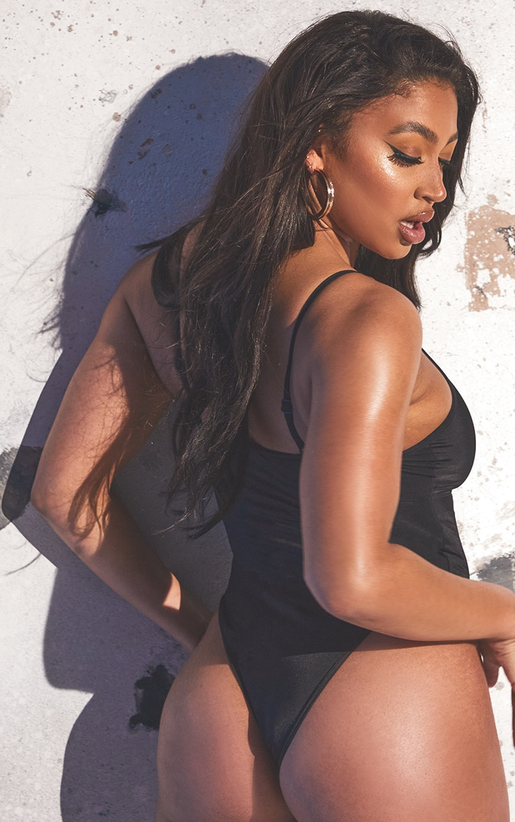 Black Recycled Fabric Scoop Neck Swimsuit 2