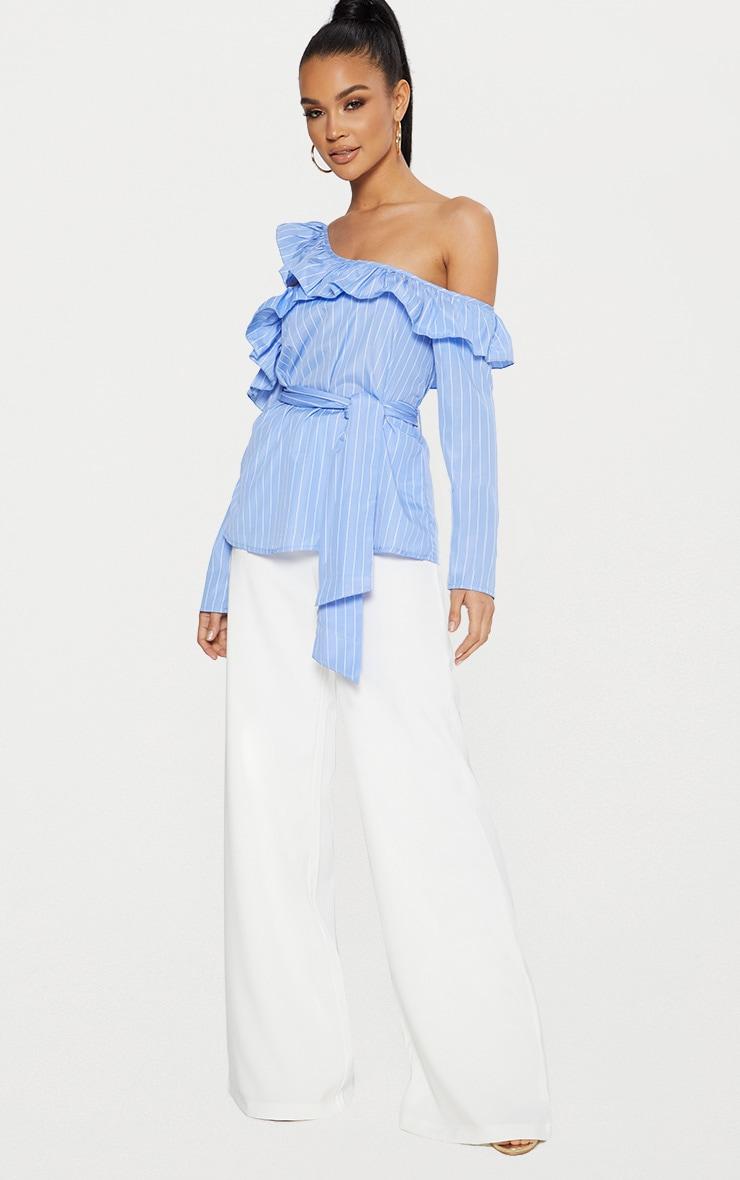 Blue Pinstripe Frill Detail Cold Shoulder Shirt  4