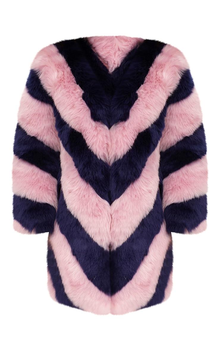 Pink Stripe Faux Fur Coat 3