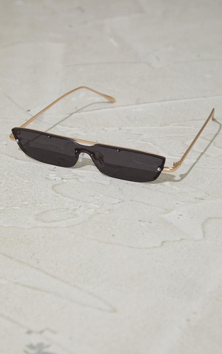 Black Squashed Square Sunglasses 2