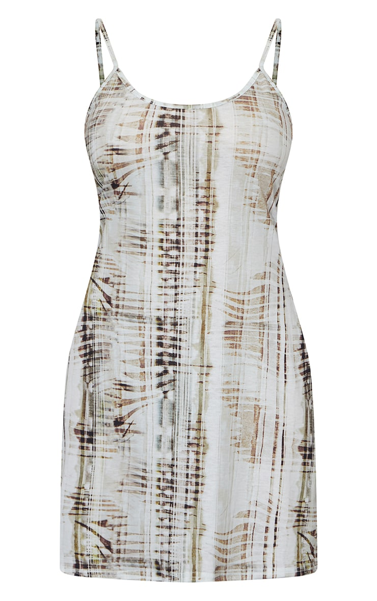 Nude Abstract Print Strappy Cross Tie Back Shift Dress 5