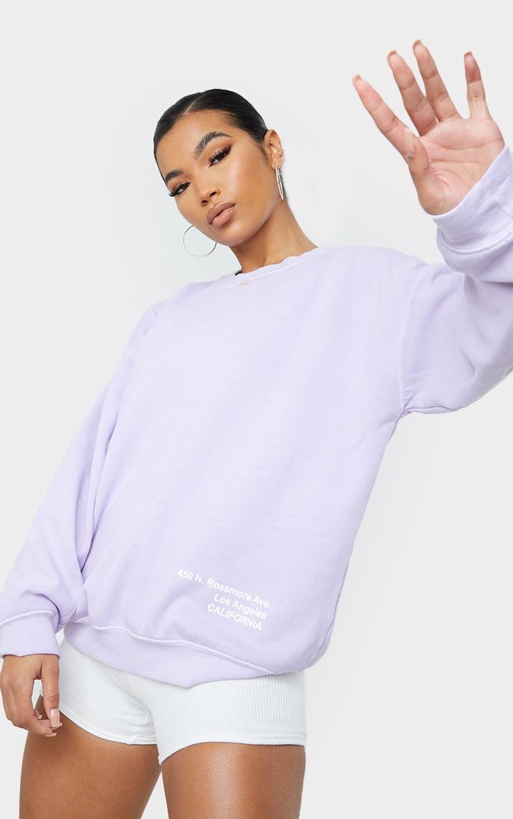 Lilac Los Angeles Small Print Slogan Washed Sweatshirt 1