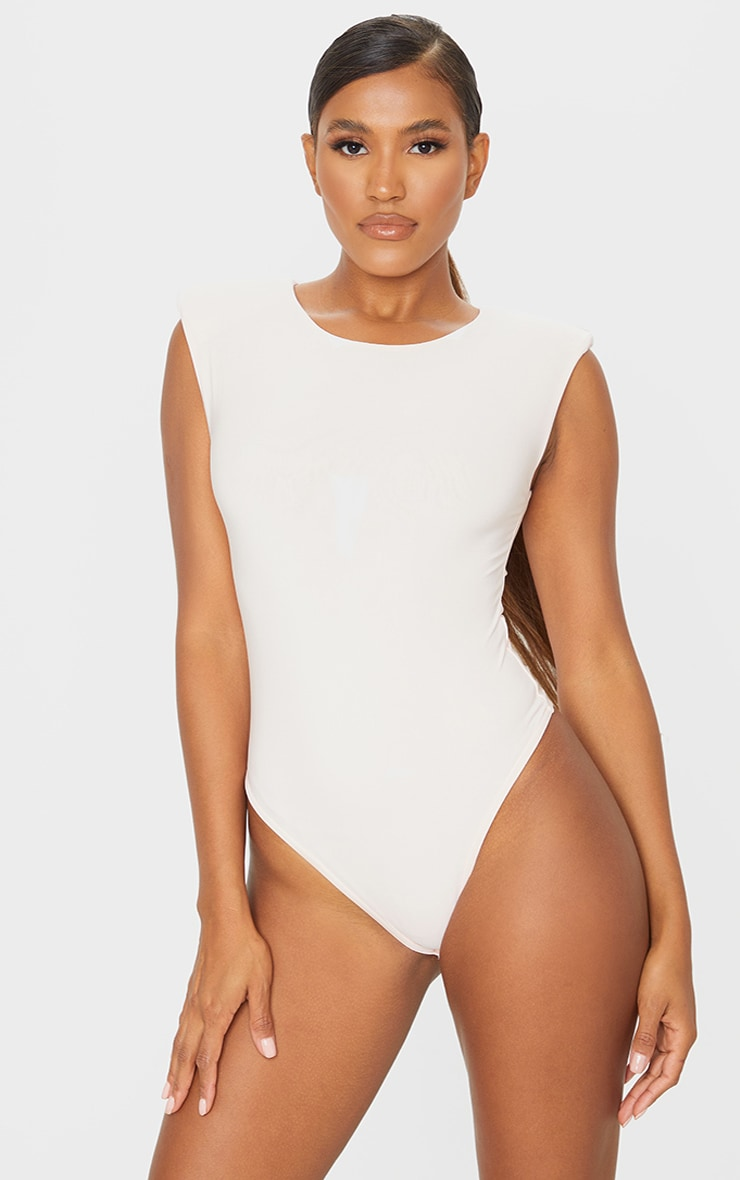 Nude Slinky Shoulder Pad High Neck Bodysuit 2