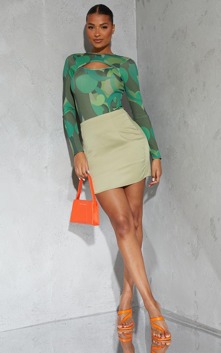 Green Swirl Print Cut Out Long Sleeve Bodysuit image 3