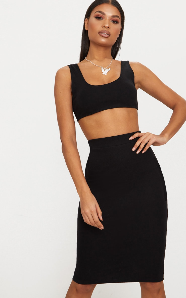 Black Second Skin Crop Top 1