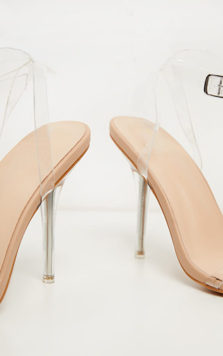Nude Clear Heel Single Strap Sandal 4