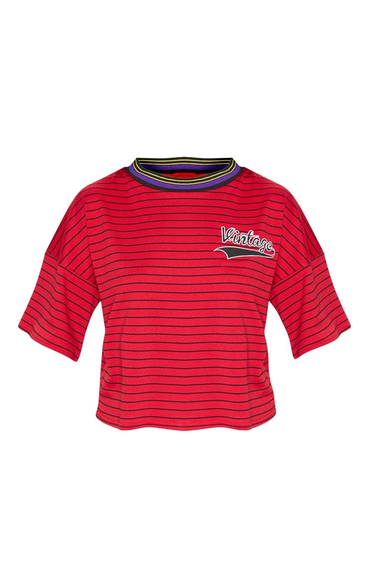 Red Vintage Slogan Pinstripe Boxy T Shirt 3