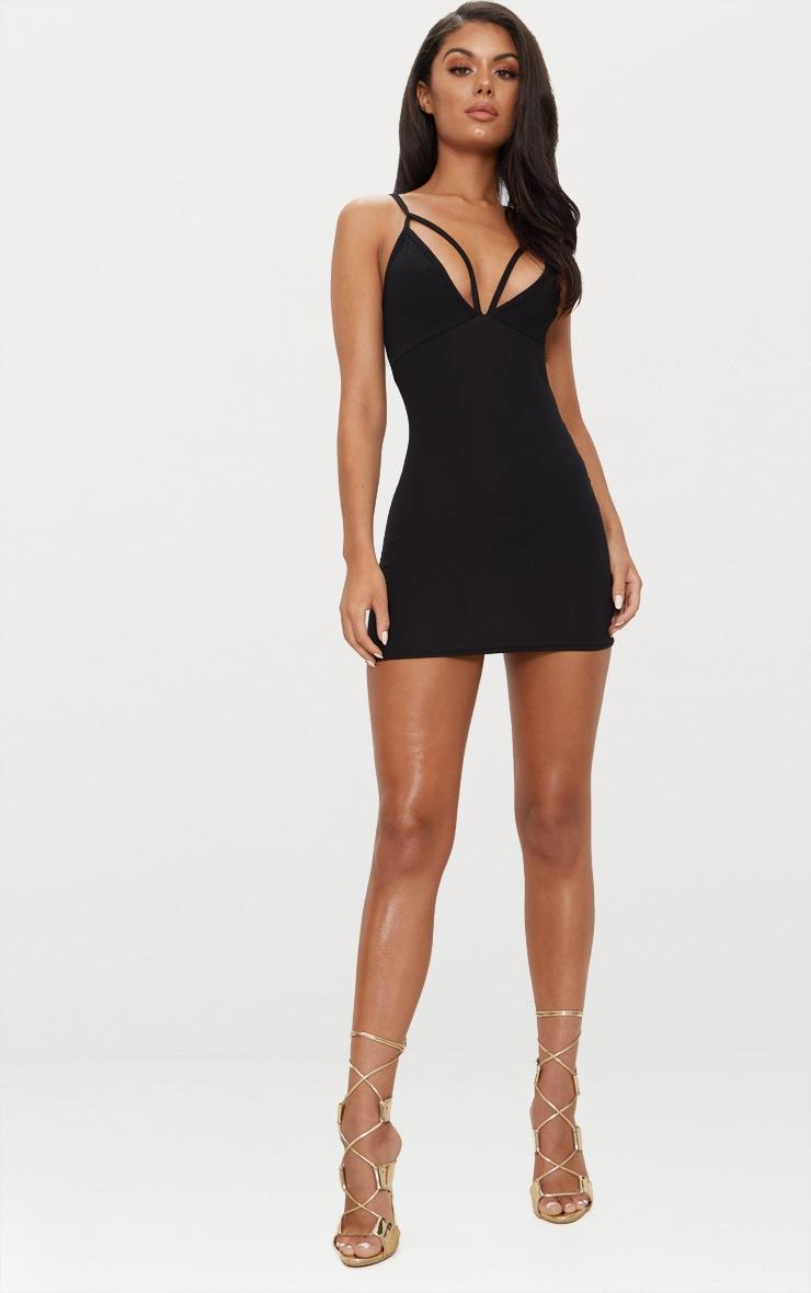 Riana Black Strap Detail Bodycon Dress 4