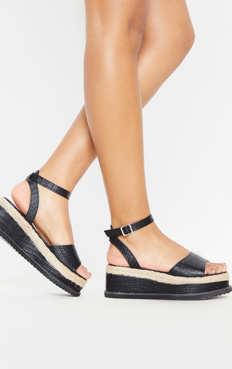 Black Croc Flatform Sandal 3