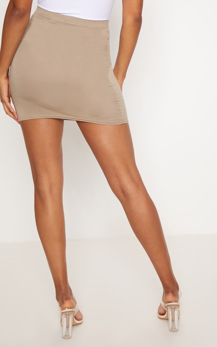 Basic Taupe Jersey Mini Skirt 4