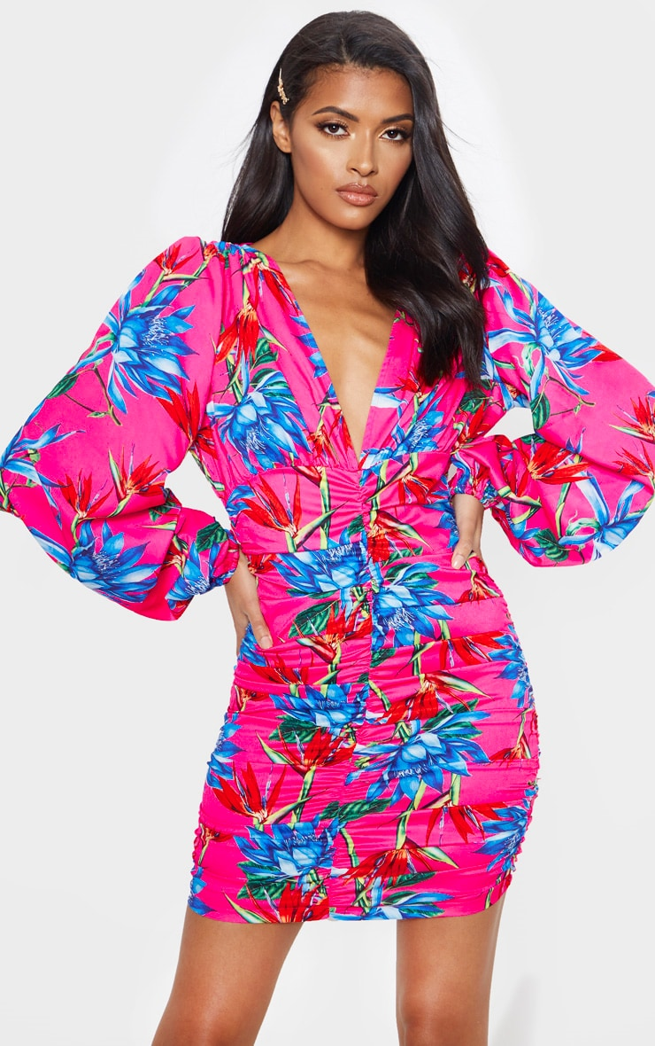 Bright Pink Floral Ruched Balloon Sleeve Bodycon Dress 4