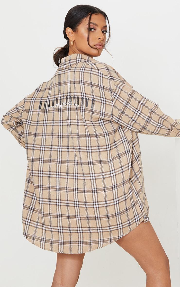 PRETTYLITTLETHING Cream Back Print Checked Oversized Shirt 1