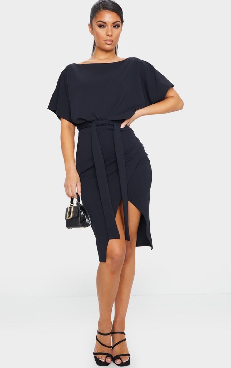 Wrap Front Black Kimono Sleeve Midi Dress 1