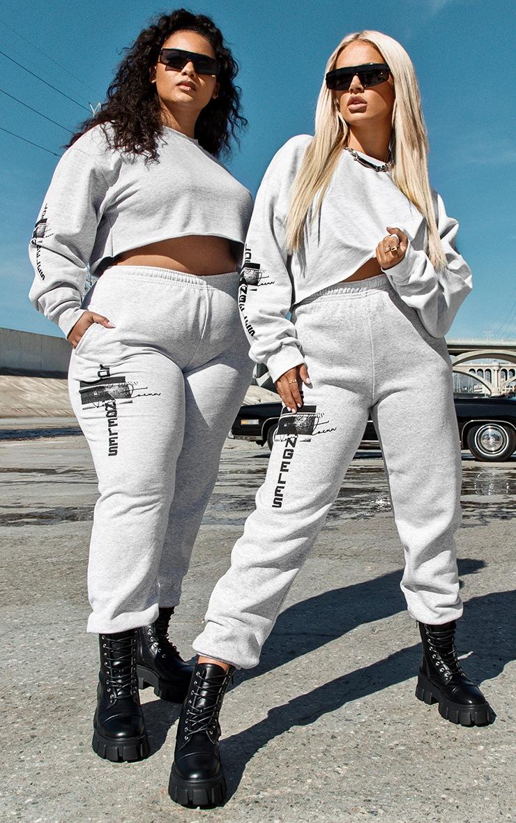 Plus Grey Los Angeles Slogan Casual Track Pants 1