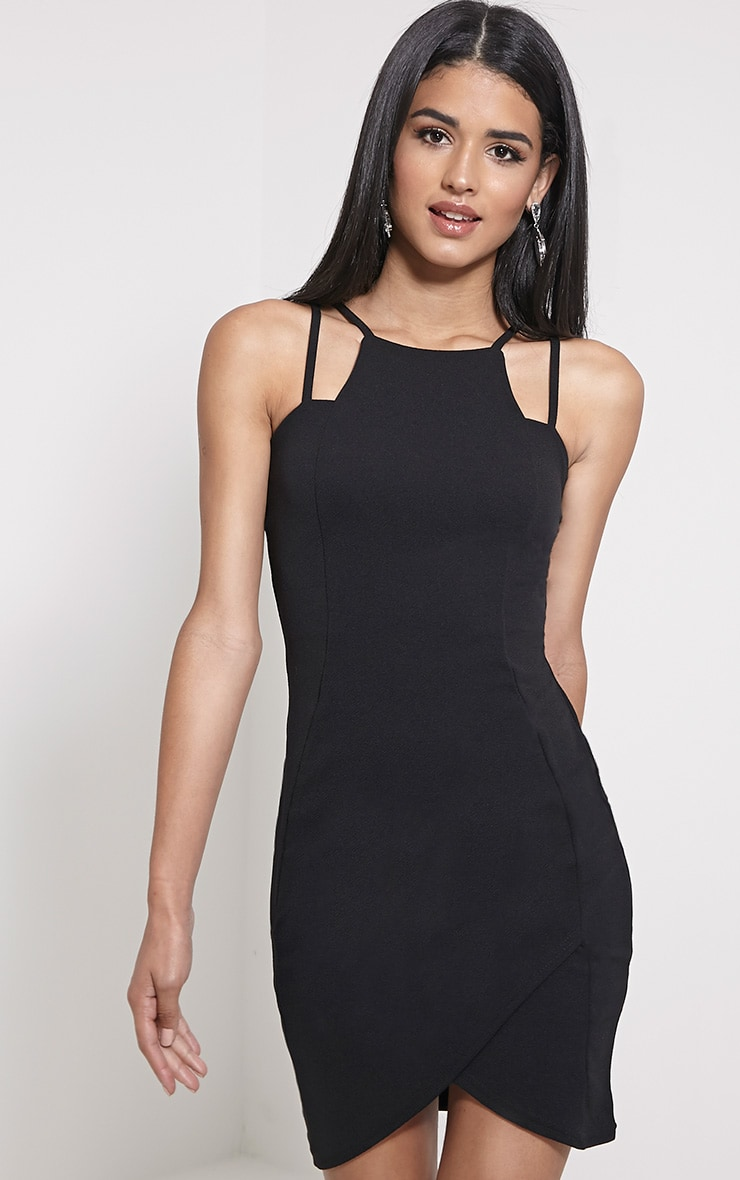 Ashleigh Black Crepe Curved Hem Mini Dress 1