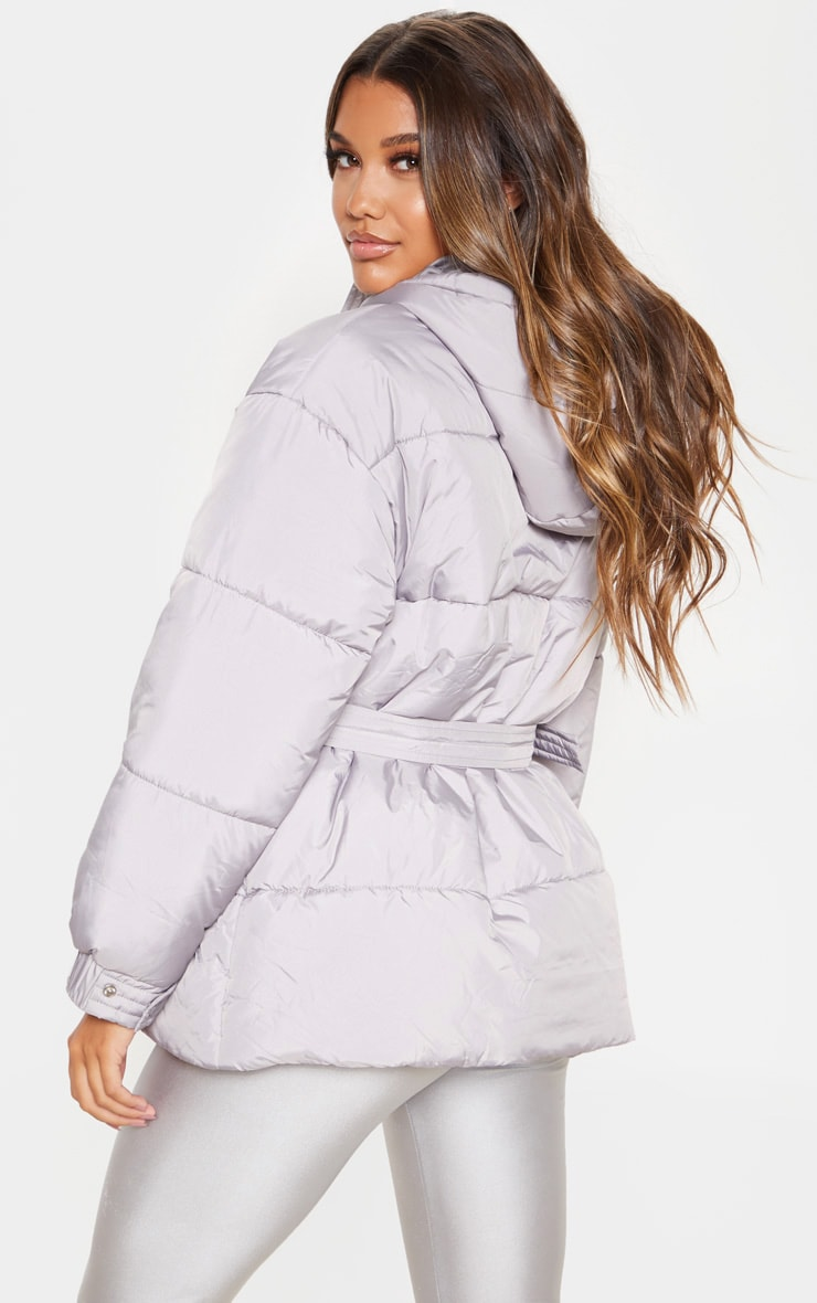 Ice Grey Belted Puffer 2