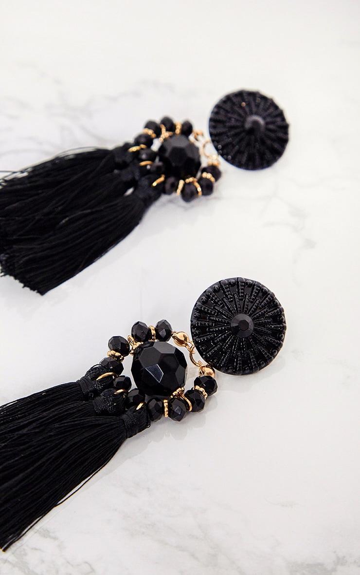 Black Acrylic Bead Tassel Earring 4