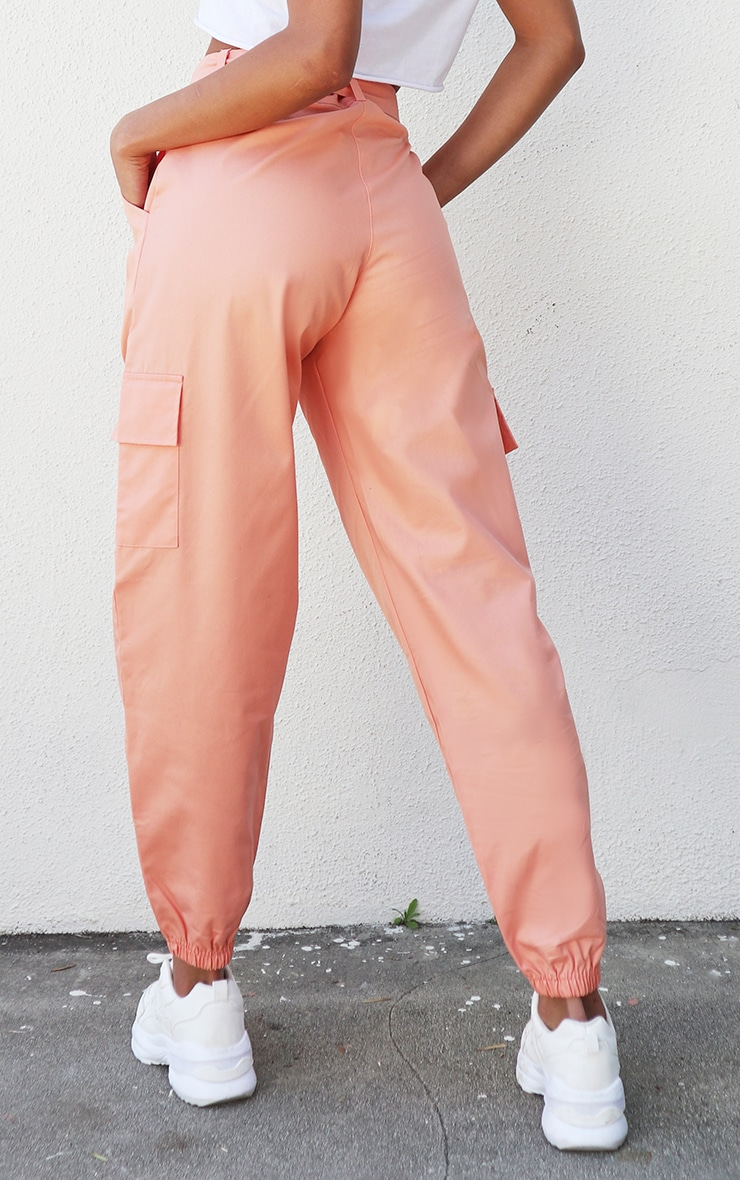 Peach Eyelet Detail Belted Cargo Pants 3