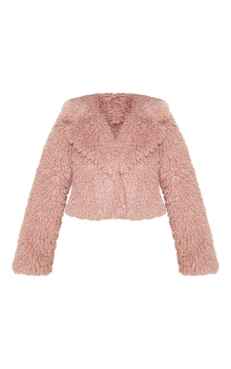 Rose Cropped Teddy Faux Fur Coat  3