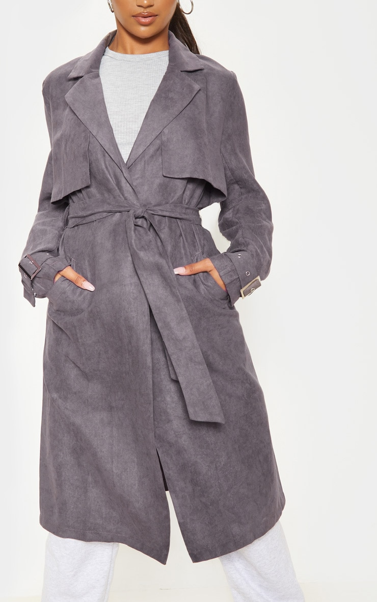 Grey Faux Suede Trench  5