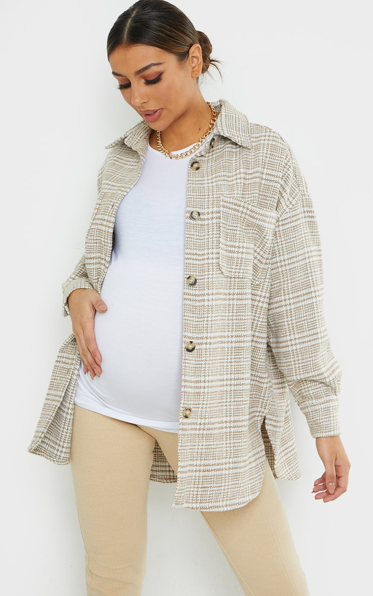 Maternity Camel Dogtooth Brushed Check Shacket