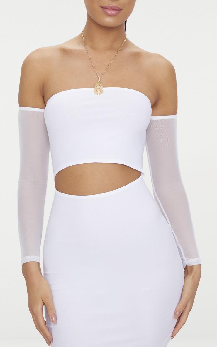 White Bardot Mesh Sleeve Bodycon Dress 5