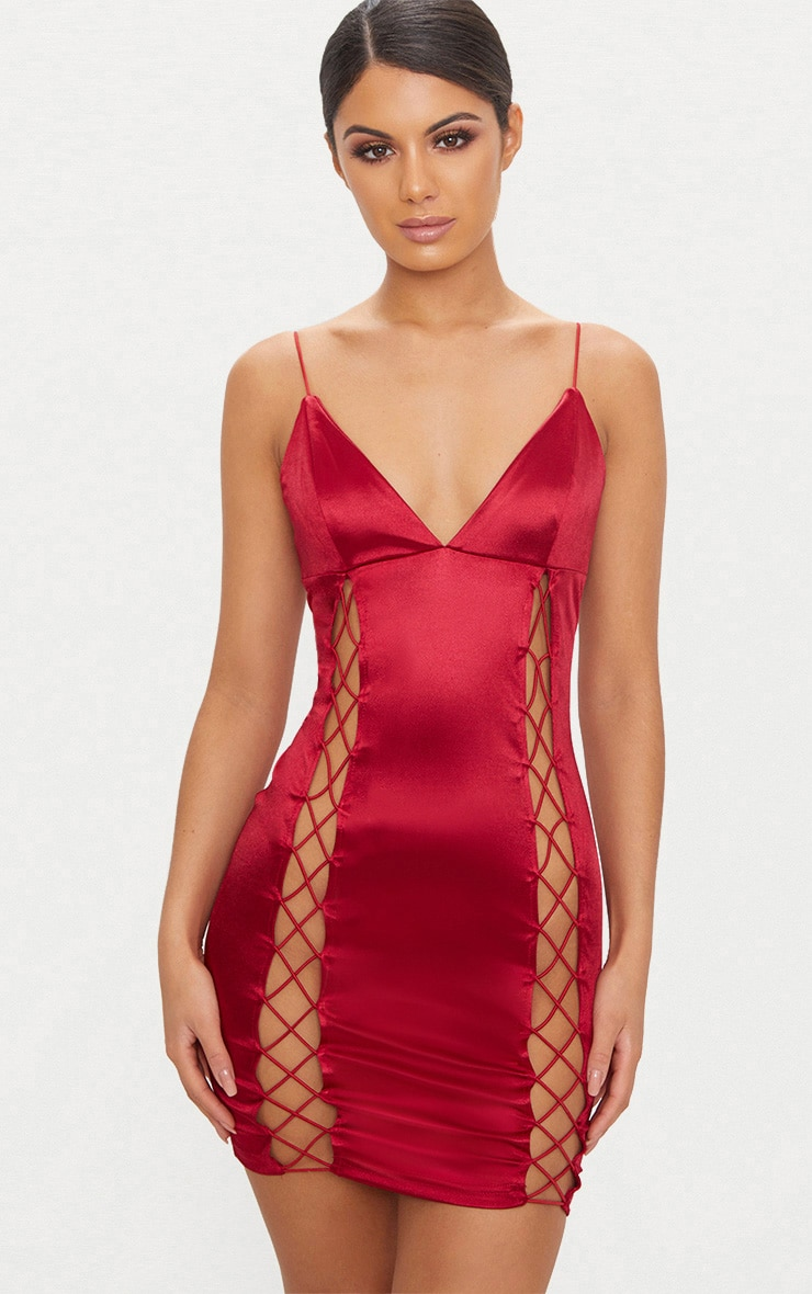 Dark Red Strappy Plunge Lace Up Satin Bodycon Dress 1