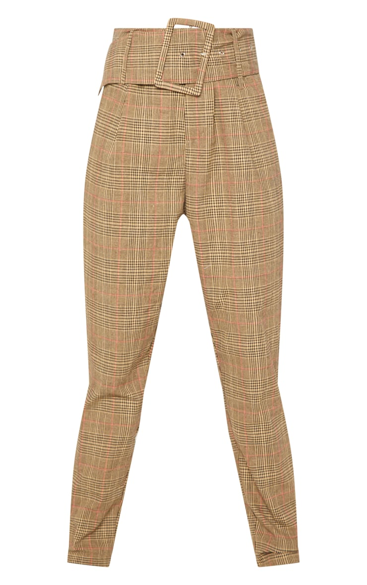 Stone Check Super High Waisted Printed Belted Tapered Trouser 3