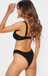 Black Fuller Bust Ribbed Underwired High Apex Bikini Top 2