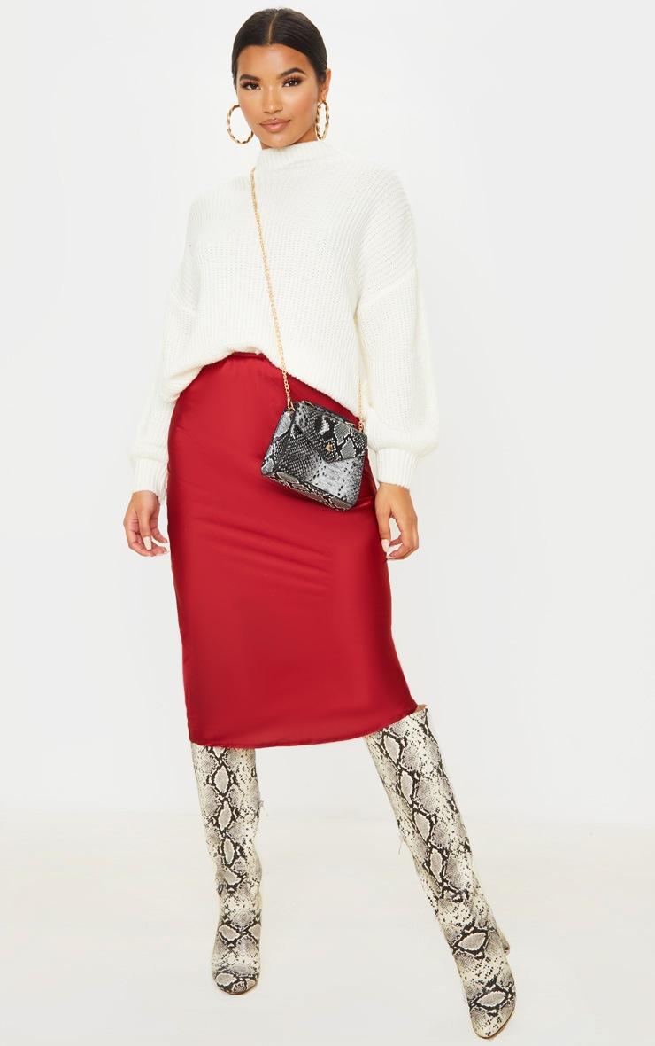 Burgundy Satin Midi Skirt 1