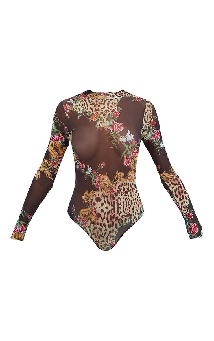 Black Oriental Leopard Print Mesh Longsleeve Bodysuit 3