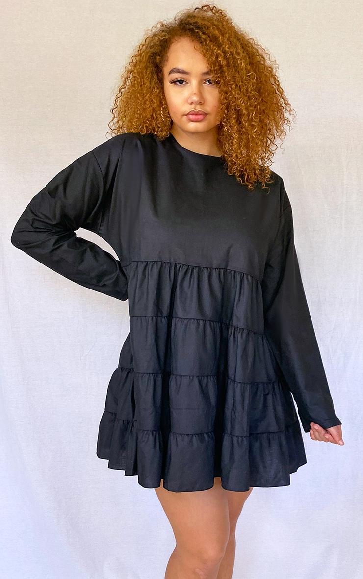 Plus Black Tiered Long Sleeve Crew Neck Smock Dress 1