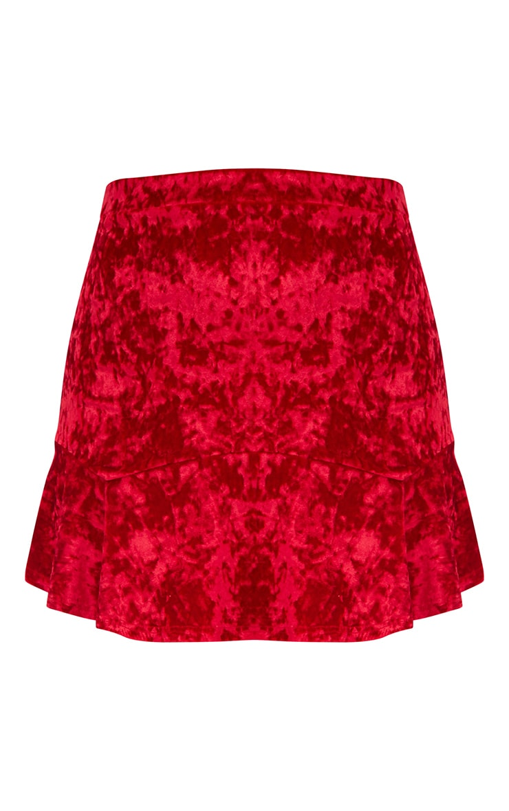 Red Velvet Flippy Hem Mini Skirt 3