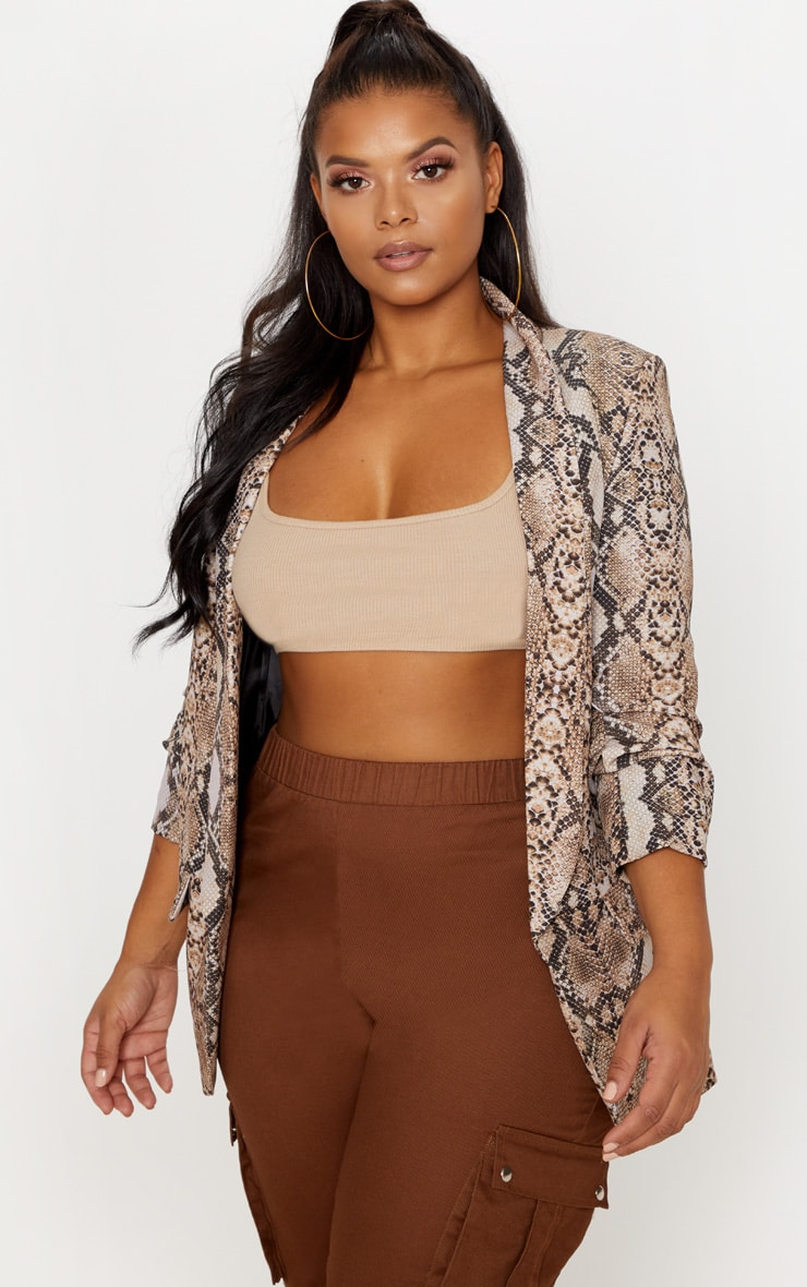 Brown Snake Print Pocket Detail Ruched Sleeve Blazer  1