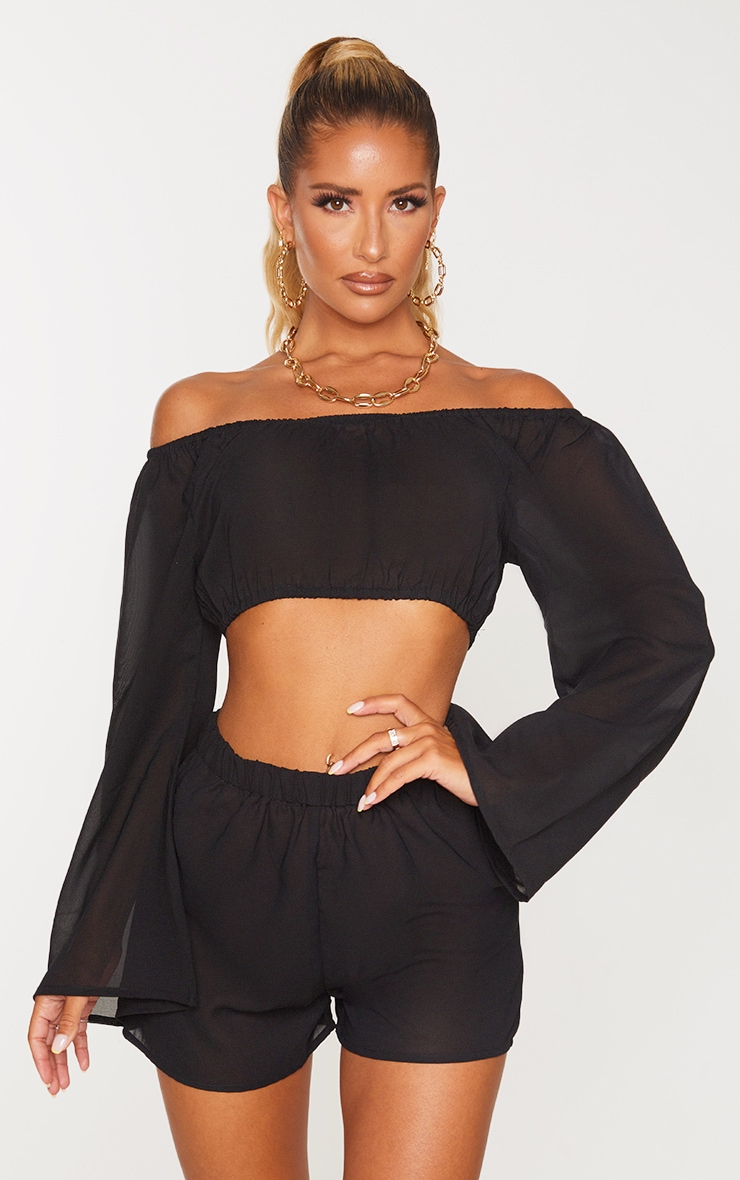 Black Off The Shoulder Flare Sleeve Beach Top