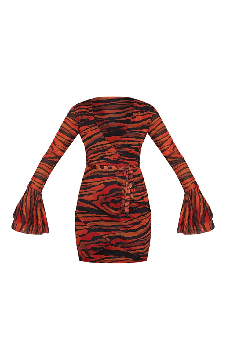 Orange Zebra Print Mesh Flared Sleeve Tie Waist Bodycon Dress 5