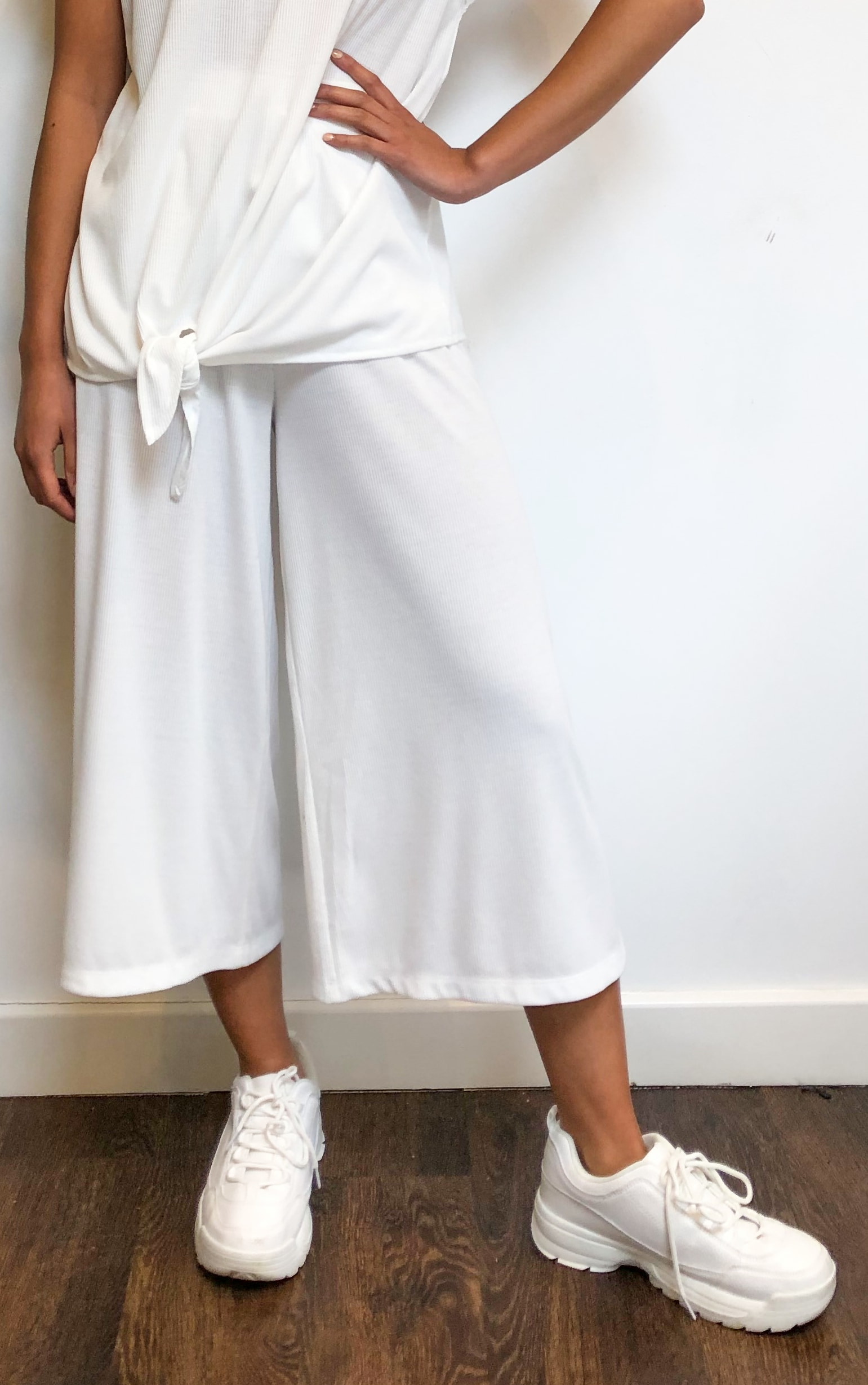 Cream Ribbed High Waist Culottes 2