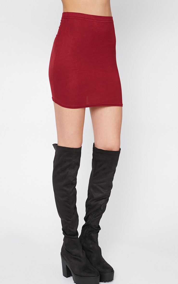 Margot Burgundy Jersey Mini Skirt 6