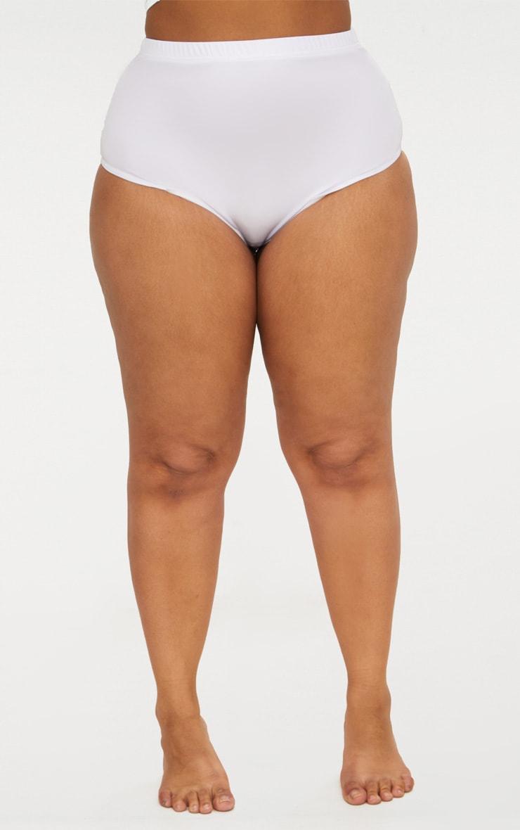 Plus White Halterneck High Waist Bikini Set 5