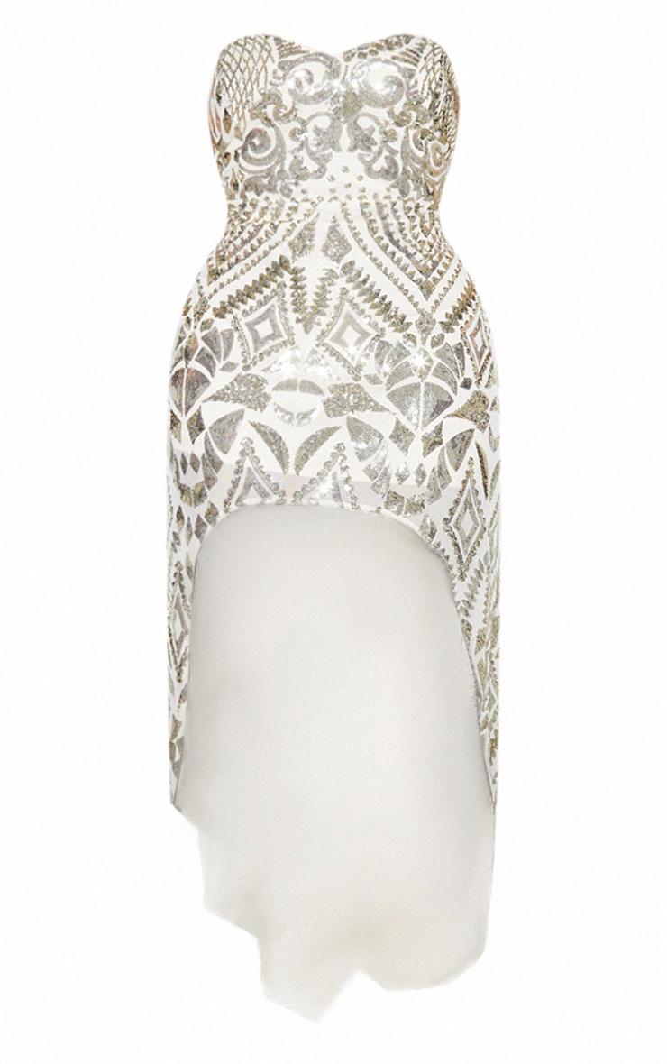 Plus Gold Sequin Bandeau Asymmetric Hem Maxi Dress 5
