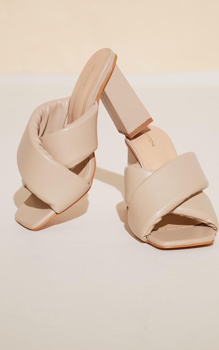 Cream Wide Fit Square Toe Padded Cross Strap Block Heel Mules 3