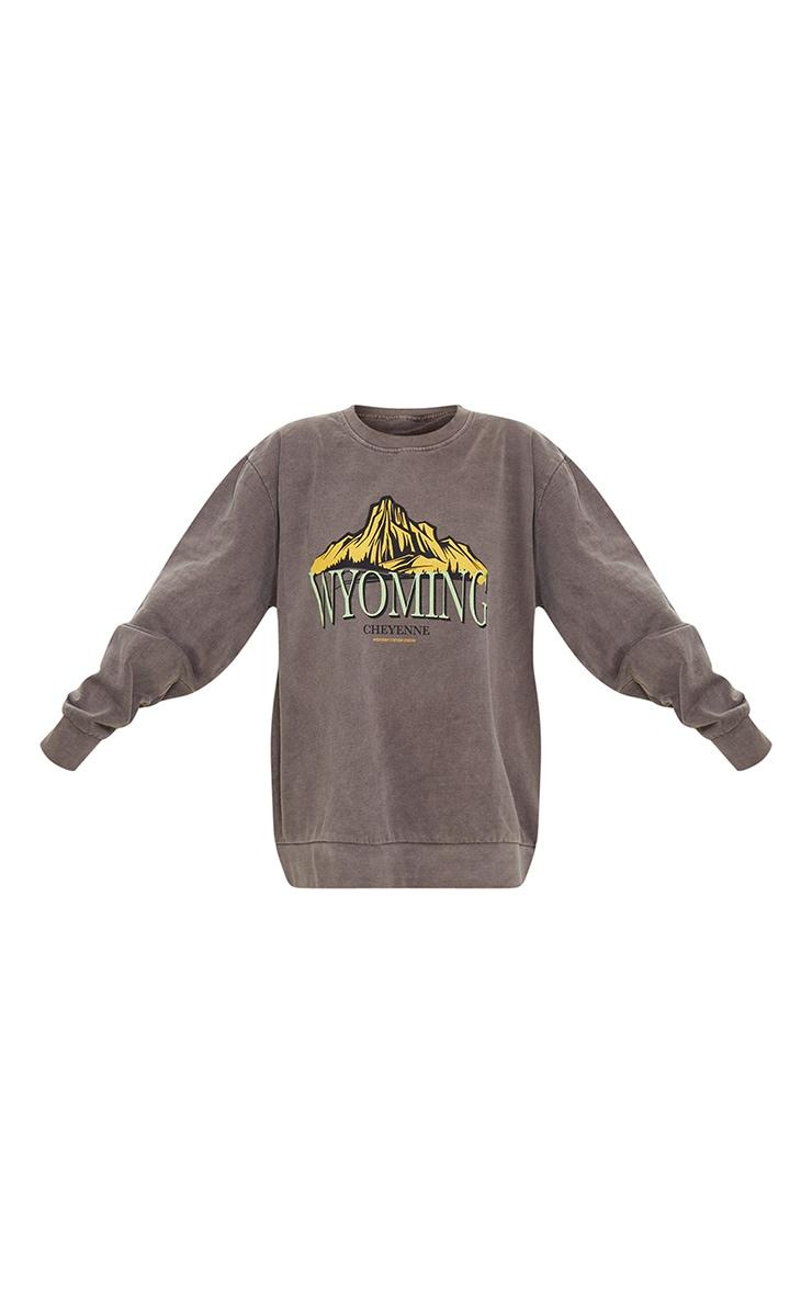 Chocolate Wyoming Graphic Printed Washed Sweatshirt 5