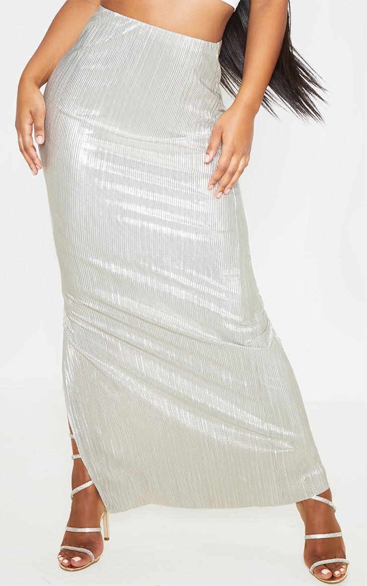 Longue jupe plissée dorée métallique  2