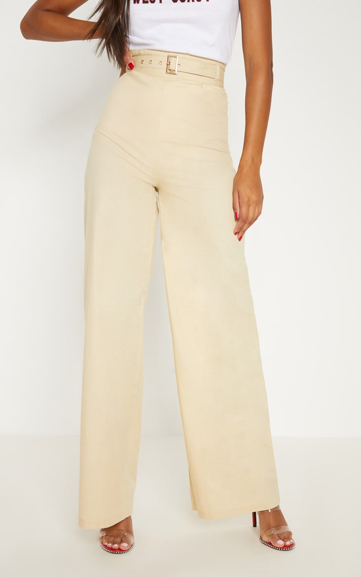 Cream Belted Waist Wide Leg Trouser 2
