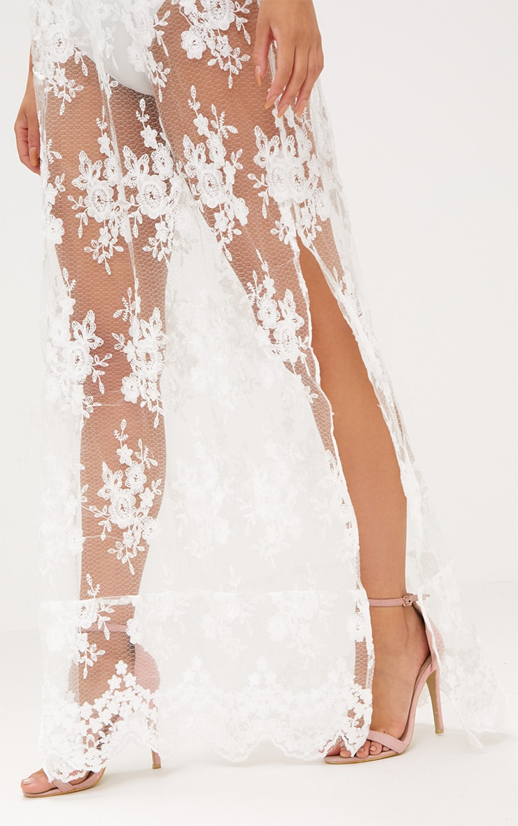 White Sheer Lace Plunge Maxi Dress 5