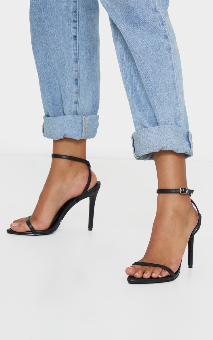 Black Ankle Strap Angled Toe Heels 1