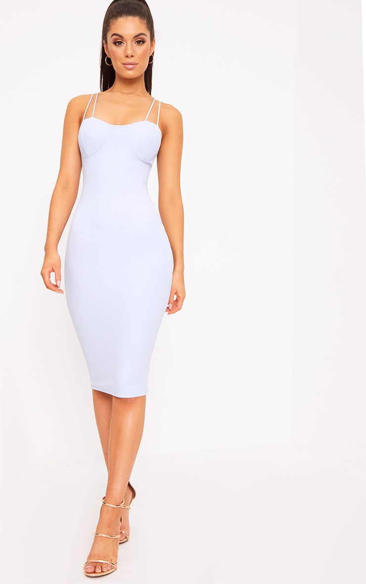 Dusty Blue Strap Detail Bust Cup Midi Dress 4